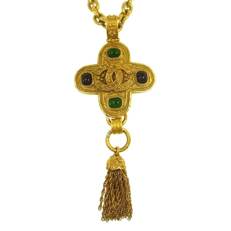 Chanel Gripoix Gold Charm Logo Cross Evening Drop Drop Chain Necklace in Box In Excellent Condition For Sale In Chicago, IL