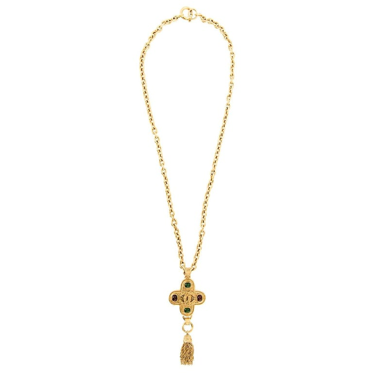 Chanel Gripoix Gold Charm Logo Cross Evening Drop Drop Chain Necklace in Box For Sale