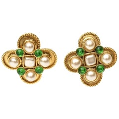 Chanel Gripoix Green Glass and Faux Pearl Clip On Earrings