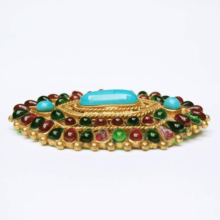 Modern Chanel Gripoix  Mughal Brooch / Pendant Autumn 1993 For Sale