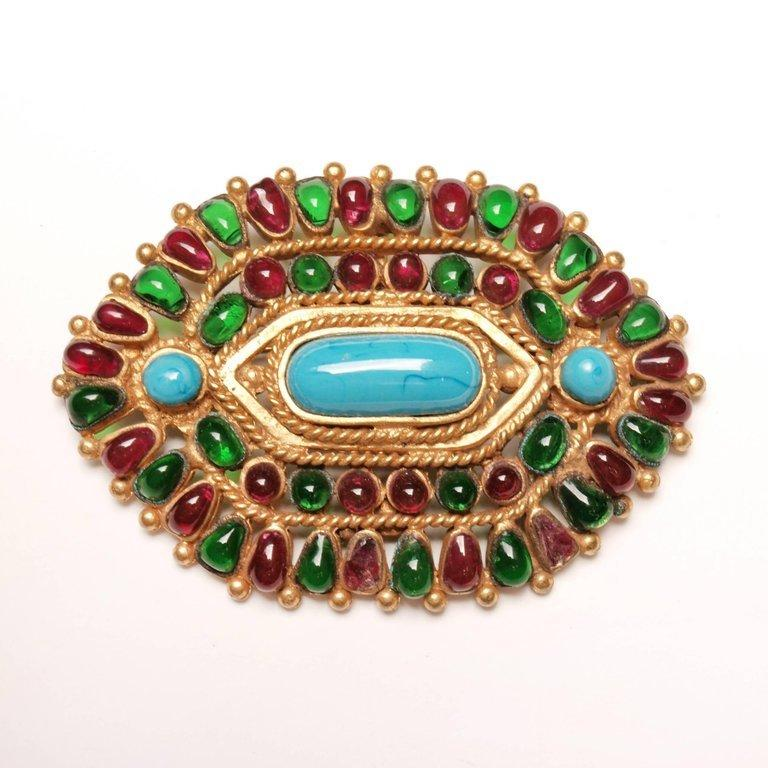 Women's or Men's Chanel Gripoix  Mughal Brooch / Pendant Autumn 1993 For Sale