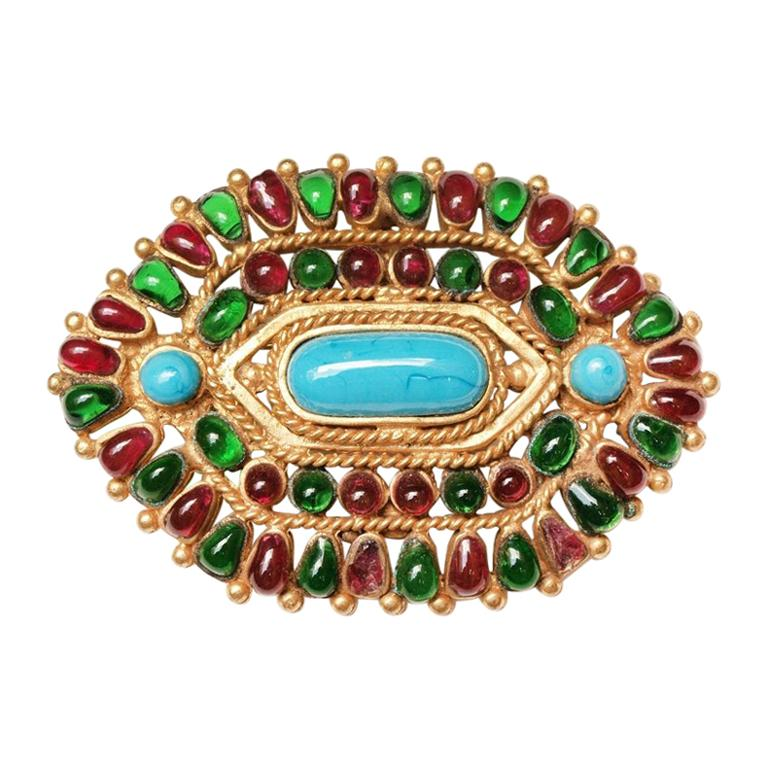 Chanel Gripoix  Mughal Brooch / Pendant Autumn 1993 For Sale