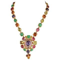 Chanel Gripoix Multicolor Drop Pendant Necklace