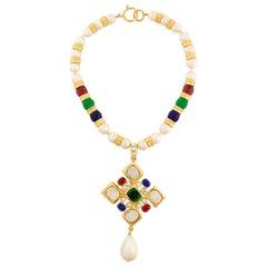 Chanel Gripoix Multicoloured Cross Necklace