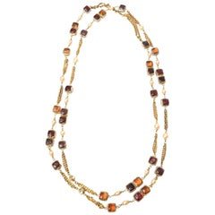 Chanel Gripoix Purple, Pink Amber Glass, Faux Pearl & Chain Strand Necklace Rare
