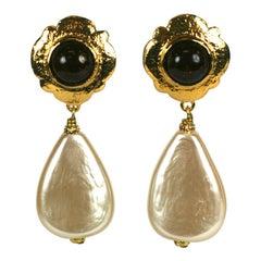 Chanel Gripoix Ruby Crackle Glass Pearl Drop Earrings