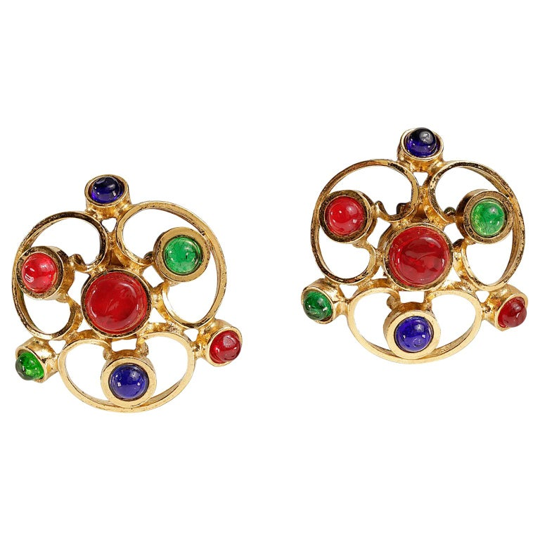 Chanel Gripoix Spiral Flower Clip On Earrings- Red Green Blue with Gold For Sale