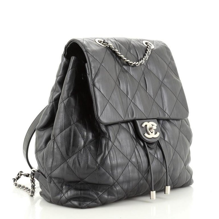 Black Chanel Ground Control Flap Backpack Quilted Iridescent Calfskin Small For Sale