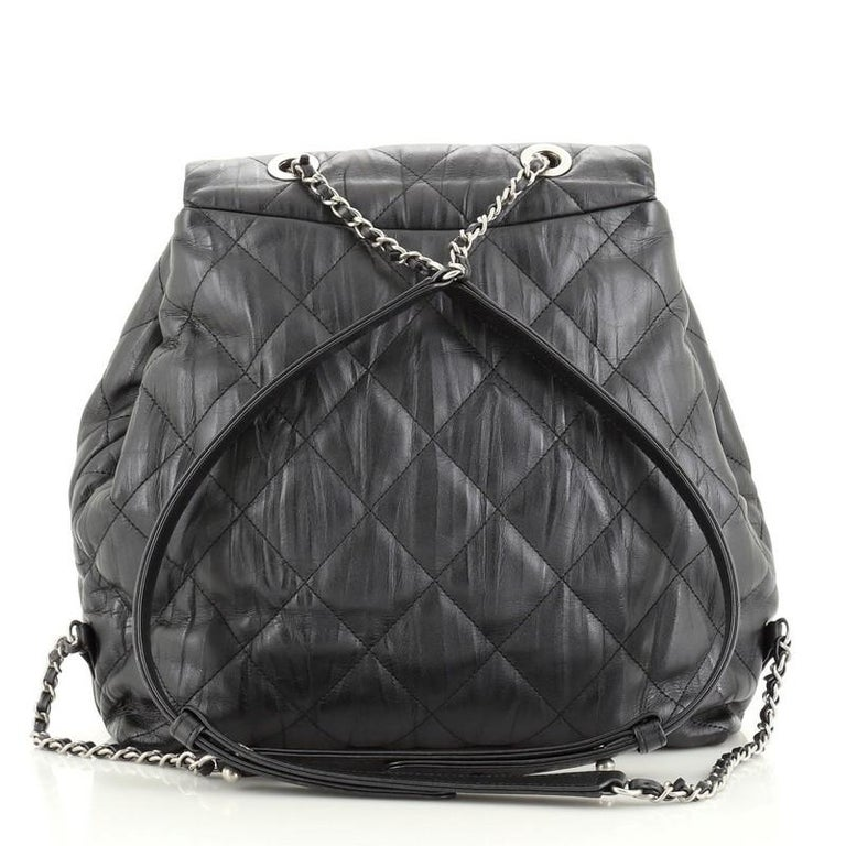 Chanel Ground Control Flap Backpack Quilted Iridescent Calfskin Small In Good Condition For Sale In New York, NY