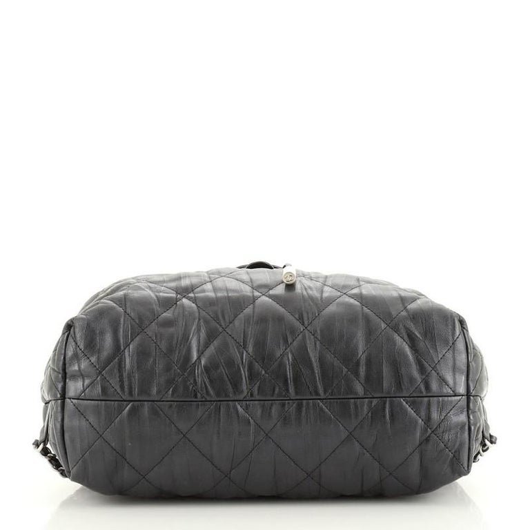 Women's or Men's Chanel Ground Control Flap Backpack Quilted Iridescent Calfskin Small For Sale