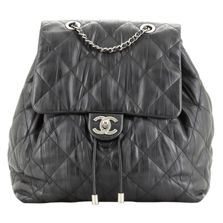 Chanel Ground Control Flap Backpack Quilted Iridescent Calfskin Small For Sale