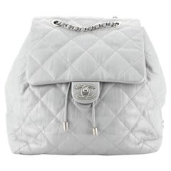 Chanel Ground Control Flap Backpack Quilted Iridescent Calfskin Small