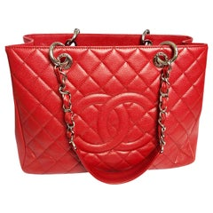 Chanel GST Grand Shopping Tote Red Caviar Leather Bag 2013