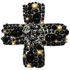 Chanel Gunmetal Black Stone/Faux Pearl CC Cross Brooch/Pendant