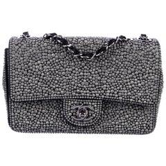 Chanel Gunmetal Gray Crystal Black Suede Silver Chain Evening Shoulder Flap Bag