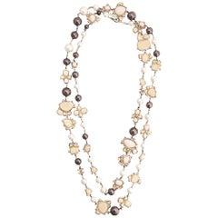 Chanel Gunmetal-Silver Embellished Necklace