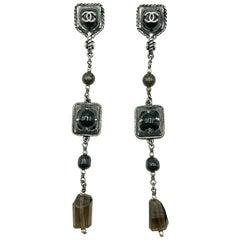 Chanel Gunmetal & Stone Logo Long Drop Earrings 2011