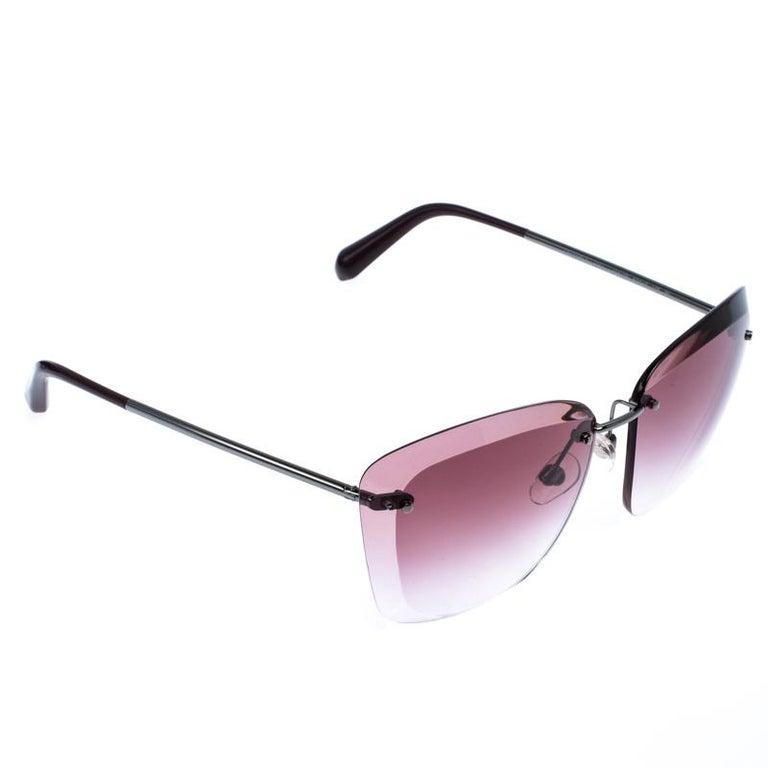 Chanel Gunmetal Tone/ Burgundy Gradient 4221 Butterfly Sunglasses In Excellent Condition For Sale In Dubai, Al Qouz 2