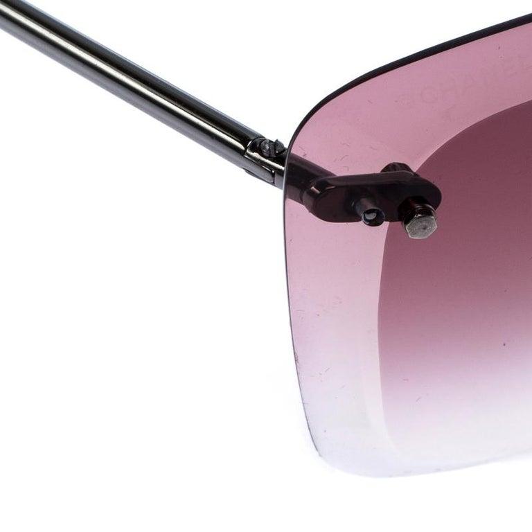 Women's Chanel Gunmetal Tone/ Burgundy Gradient 4221 Butterfly Sunglasses For Sale