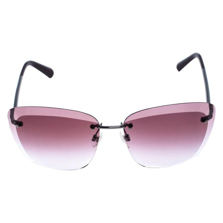 Chanel Gunmetal Tone/ Burgundy Gradient 4221 Butterfly Sunglasses For Sale