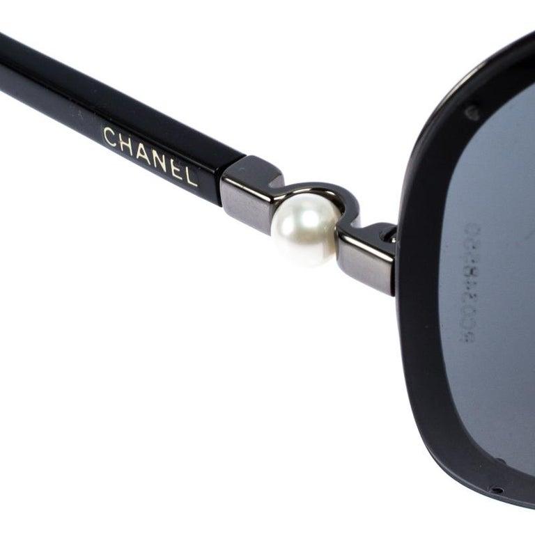 Chanel Gunmetal Tone/ Grey 4170-H Collection Perle Shield Sunglasses For Sale 2