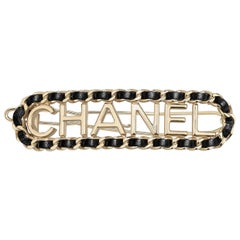 CHANEL Hair Clip Metal & Lambskin Gold & Black  NEW WITH TAGS