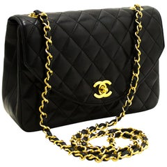 CHANEL Half Moon Chain Shoulder Crossbody Bag Black Flap Quilted