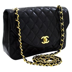 CHANEL Half Moon Chain Shoulder Crossbody Bag Black Flap Quilted Leather
