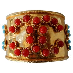 Chanel 28C Collection Coral & Turquoise Cabachons Cuff Bracelet