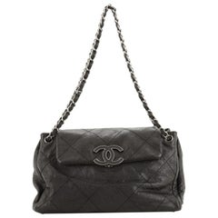 Chanel Hamptons Accordion Flap Tote Quilted Calfskin Large