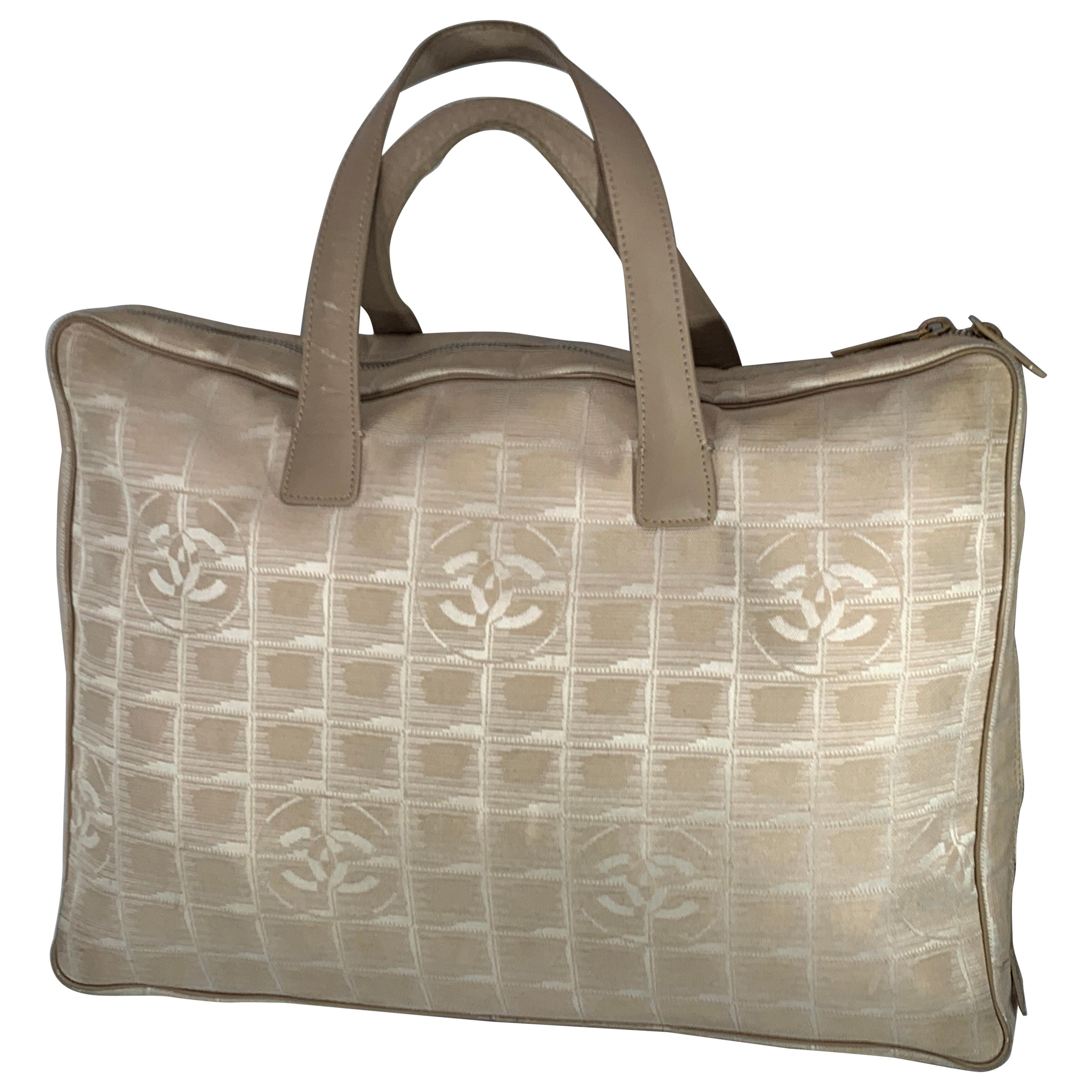 Chanel Handbag Bag New travel line Beige Nylon Jacquard Authentic Pre-Loved