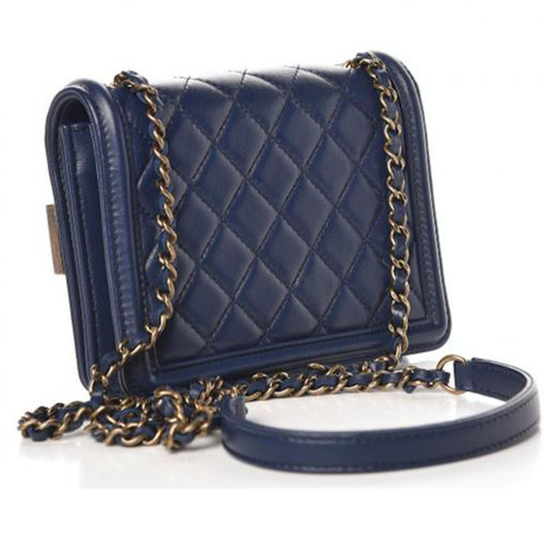 Black Chanel Handbag Classic Flap Boy Brick Mini Studded Classic Logo CC Navy Blue Bag For Sale