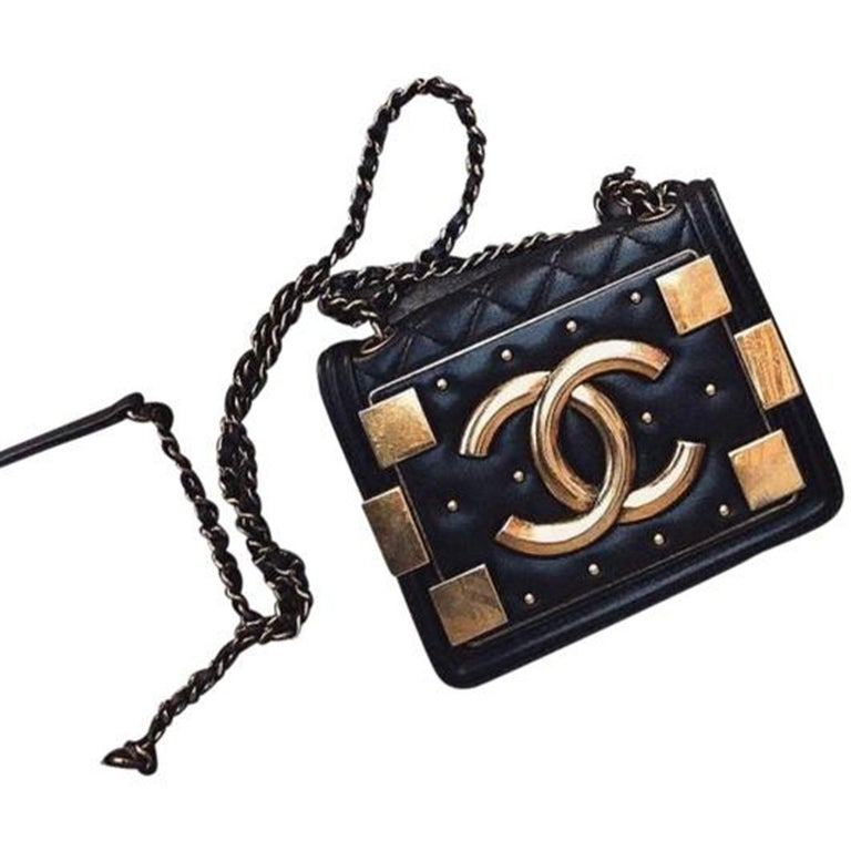 Chanel Handbag Classic Flap Boy Brick Mini Studded Classic Logo CC Navy Blue Bag For Sale 1