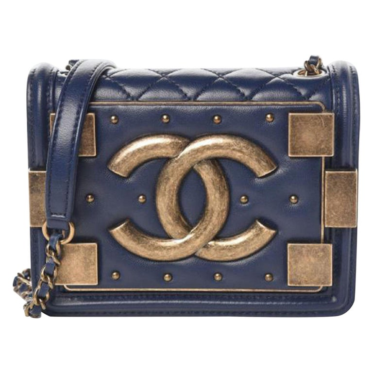 Chanel Handbag Classic Flap Boy Brick Mini Studded Classic Logo CC Navy Blue Bag For Sale
