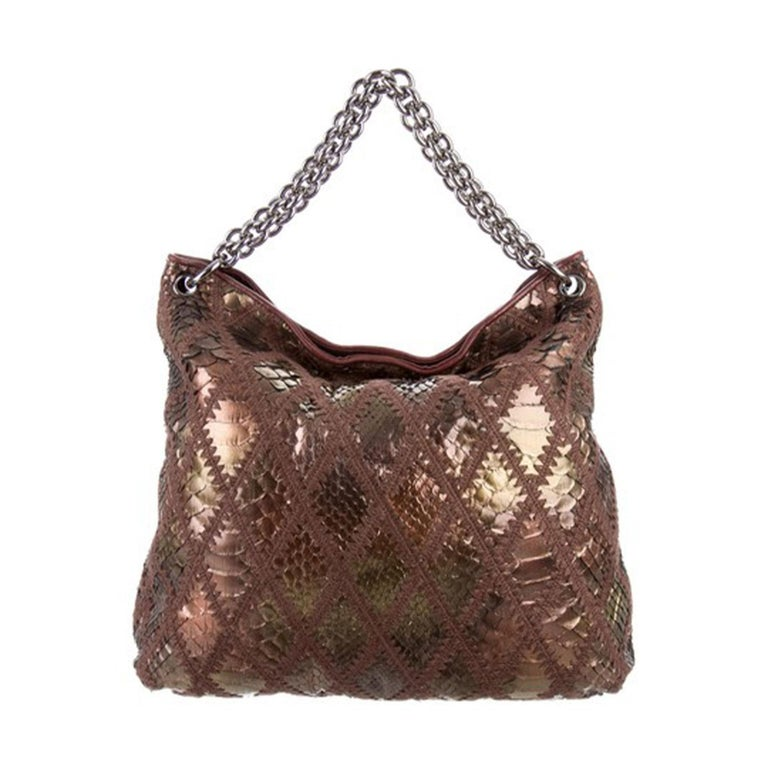 Women's or Men's Chanel Handbag Clutch Rare Exotic Large 2 In 1 Tote & Metallic Bronze Hobo Bag For Sale