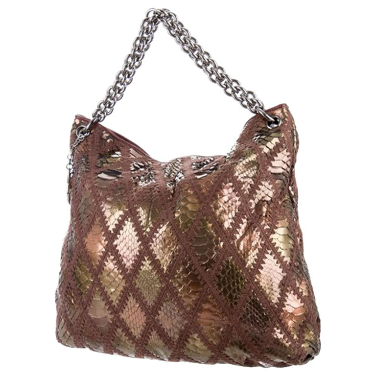 Chanel Handbag Clutch Rare Exotic Large 2 In 1 Tote & Metallic Bronze Hobo Bag For Sale