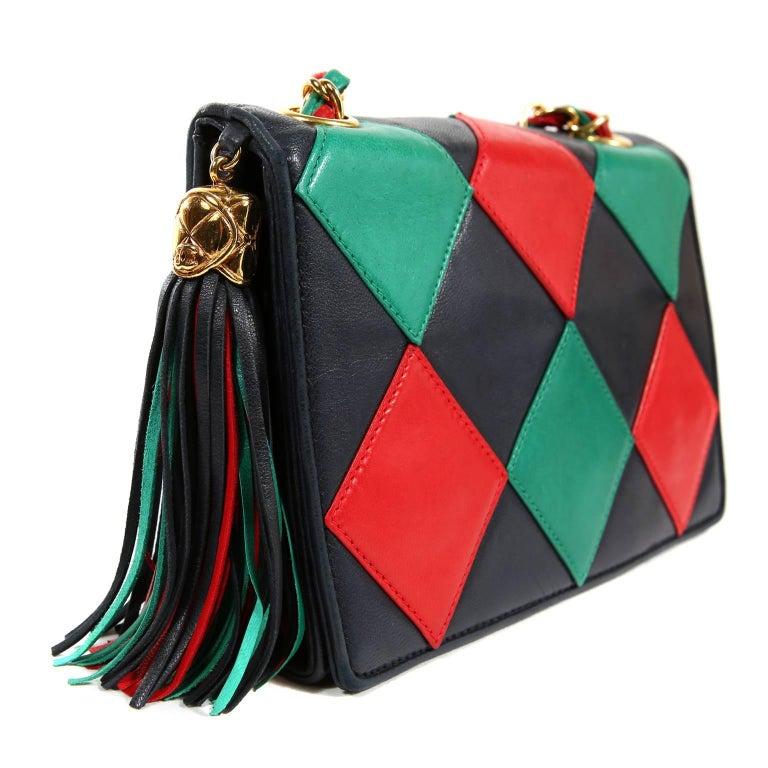Black Chanel Harlequin Vintage Flap Bag For Sale