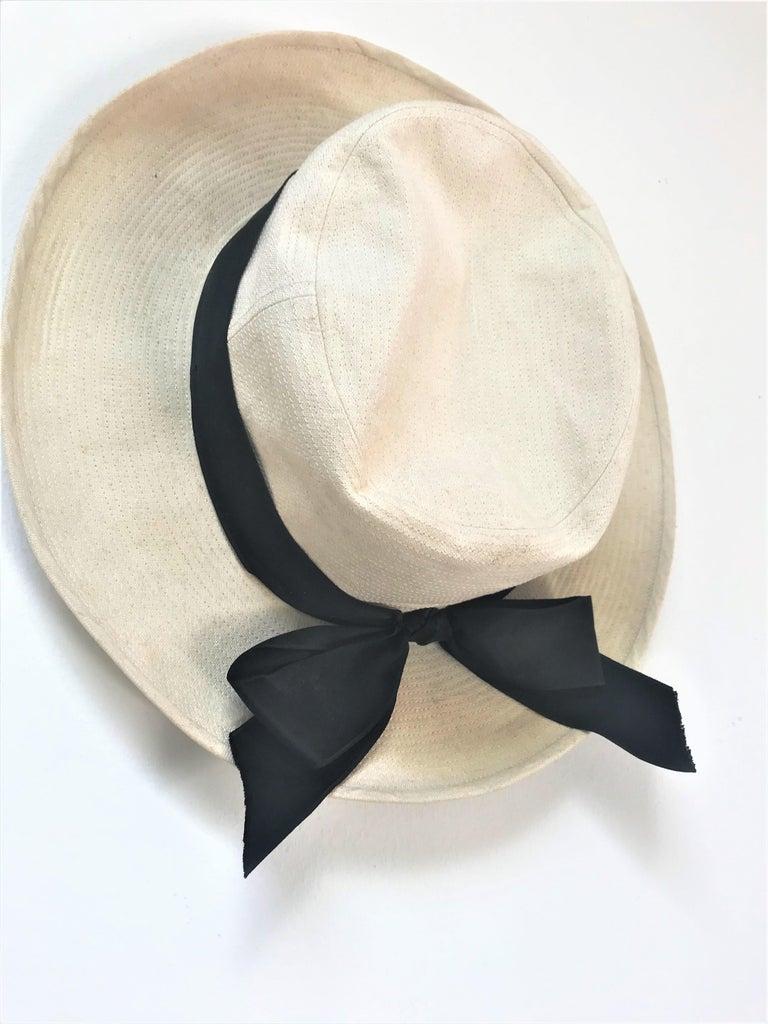 CHANEL HAT beige cotton size 59  In Good Condition For Sale In Stuttgart, DE