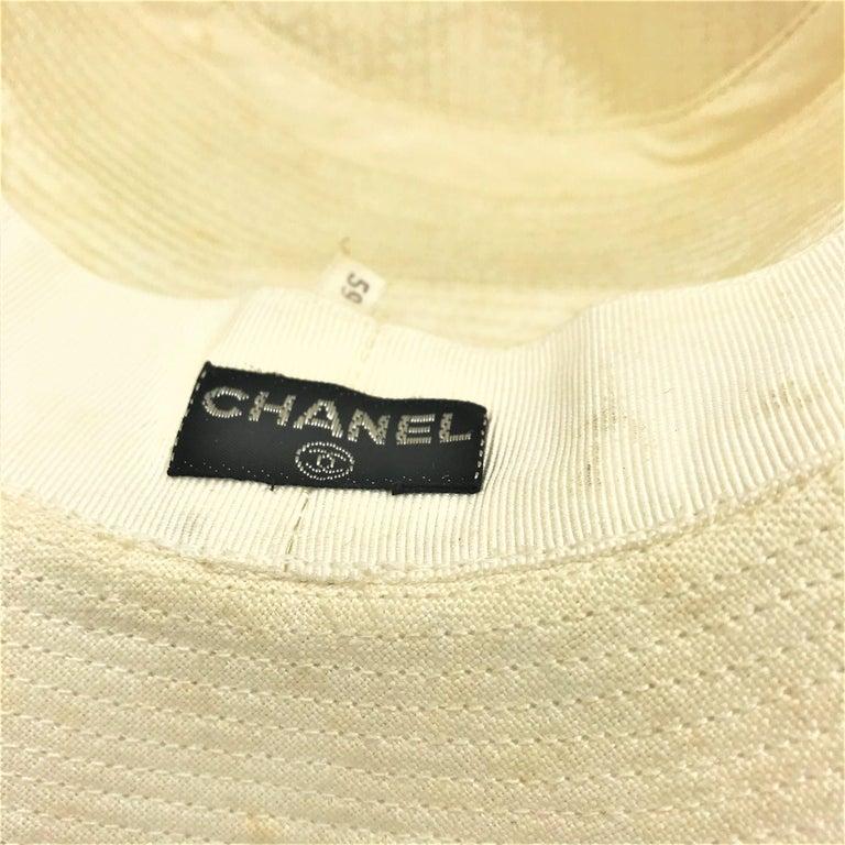 CHANEL HAT beige cotton size 59  For Sale 1
