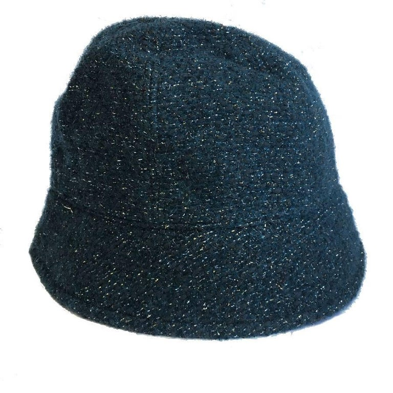 Women's CHANEL Hat in Green Tweed with Gold Thread and Molten Glass Jewel For Sale