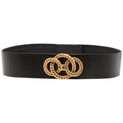 Chanel Haute Couture Black Woven CC Detail Belt