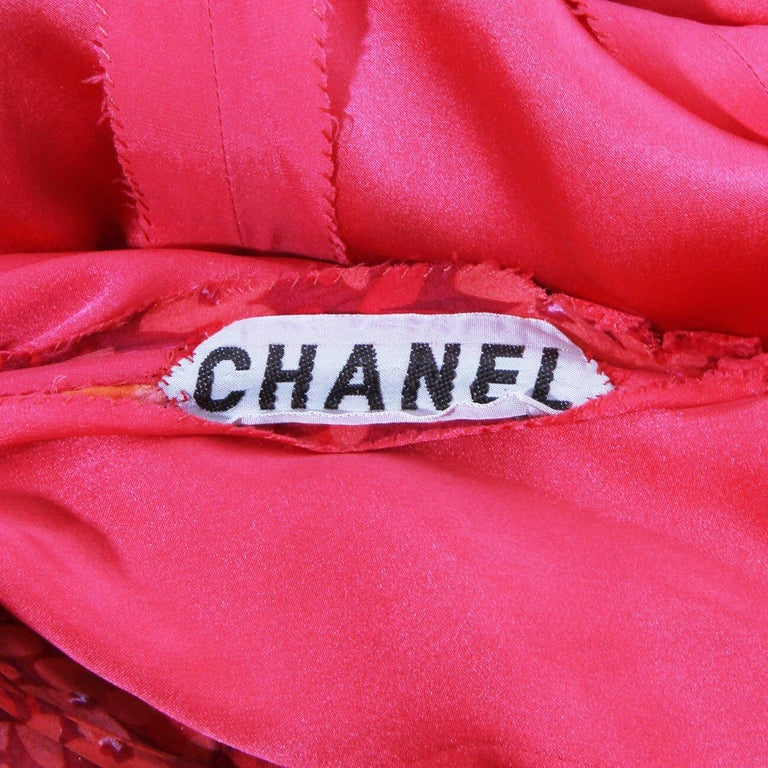Chanel Haute Couture C. Late 1960's-early 1970's Floral Silk Mousseline dress 5