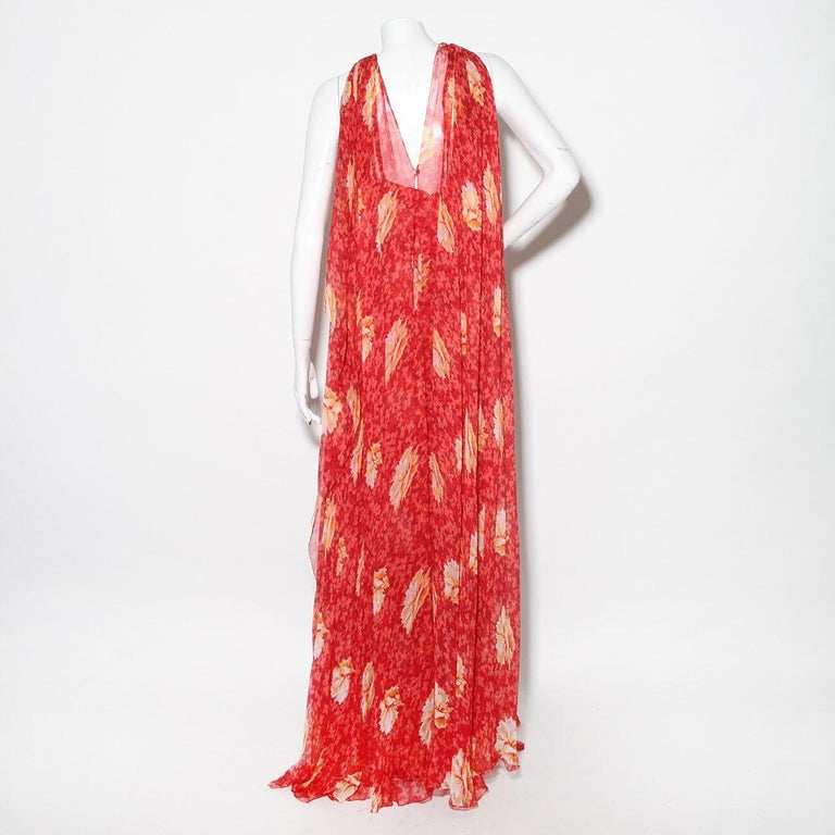 Red Chanel Haute Couture C. Late 1960's-early 1970's Floral Silk Mousseline dress