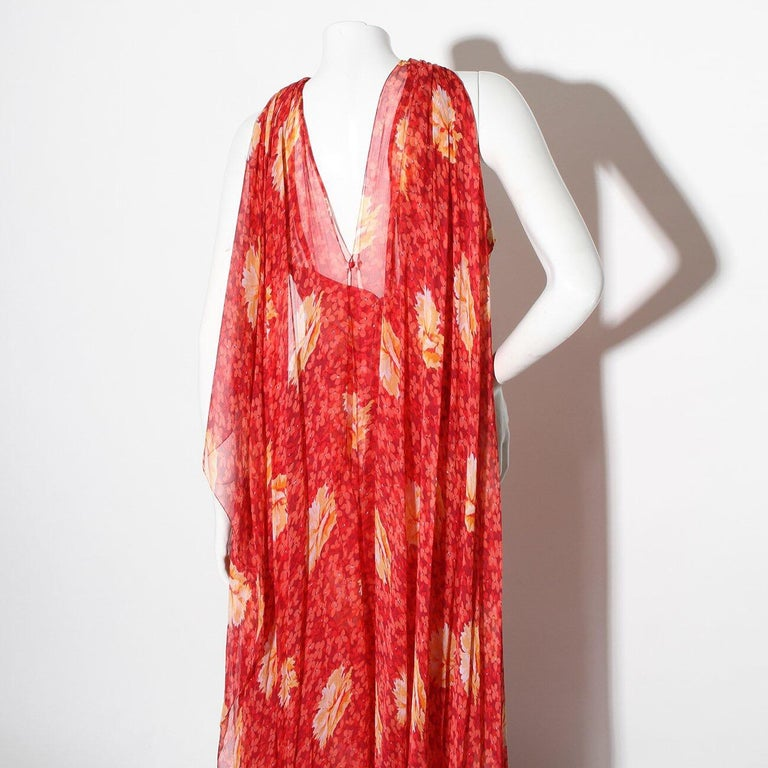 Chanel Haute Couture C. Late 1960's-early 1970's Floral Silk Mousseline dress In Fair Condition In Los Angeles, CA