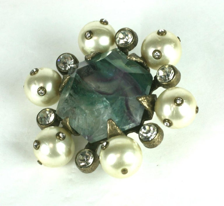 Modern Chanel Haute Couture Fluorite Crest Brooch For Sale