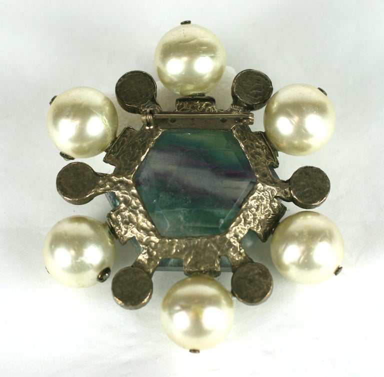 Chanel Haute Couture Fluorite Crest Brooch In Excellent Condition For Sale In Riverdale, NY