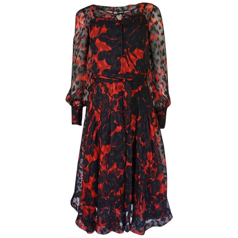 Chanel Haute Couture Red and Black Floral Print Silk Dress, circa 1973 - 1977 For Sale