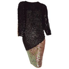 CHANEL Haute Couture Sequins Couvered on Knit, Black and Pearl - Unworn, New