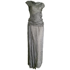 CHANEL Haute Couture silver applications, top blouse skirt. All Silk - Unworn