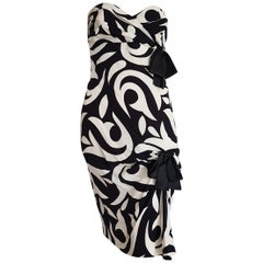 CHANEL Haute Couture strapless black, white lilies flowers design, silk - Unworn